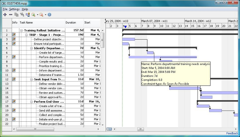 Free MOOS Project Viewer is a free Microsoft Project viewer that can open any MS Project file type (.mpp, .mpt, .mpx, .xml) for any Microsoft Project version (2000, 2003, 2007, 2010).